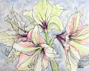 Original Acrylic Painting of an Amaryllis on a Blue Background