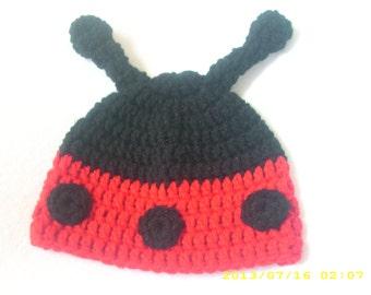 Handmade crochet lady bug hat