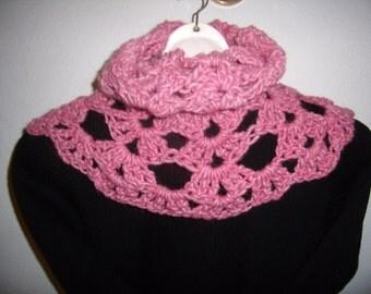 cozy crochet lace, shawl collar, pink snood, cowl, scarf, infinity, handmade