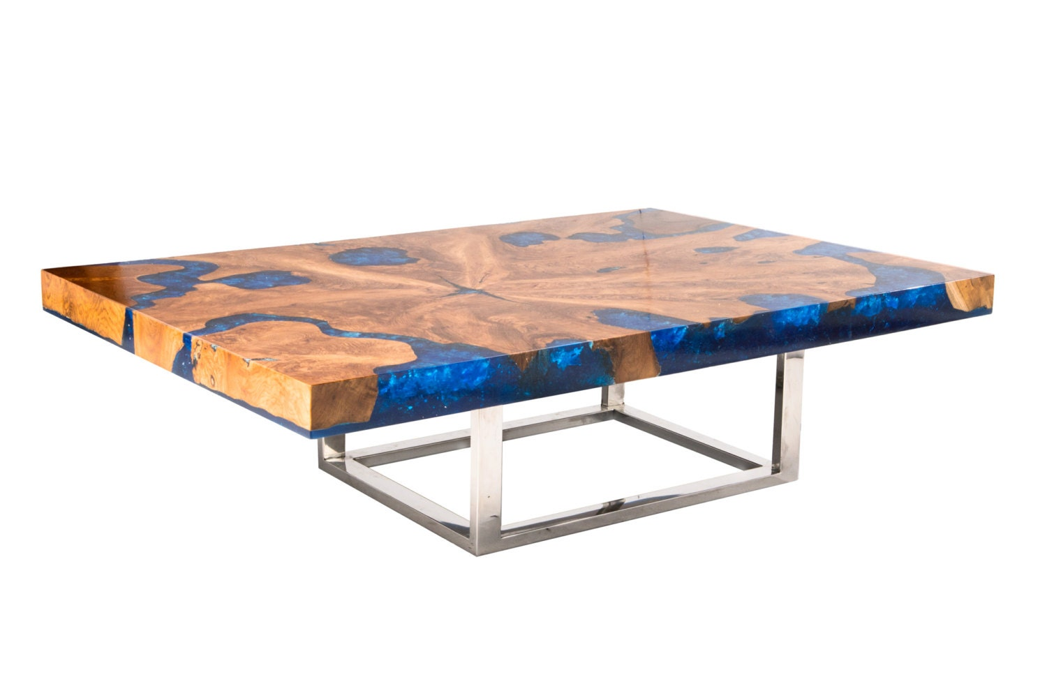 Blue Cracked Resin Coffee Table