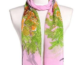 Womens Scarf, Pink Scarf, Bird Print Scarf, Floral Print Scarf, Chiffon Scarf, Voile Scarf, Cotton Scarf, Fashion Scarf, Shawl, Womans Scarf