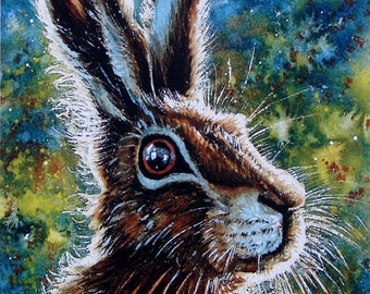 """HARE PORTRAIT""""   A signed, Limited Edition Print by Andrew Bailey. Hare paintings, Hare and Moon. Hare art wildlife. Welsh art Pembrokeshire"""