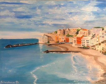 "Modern oil seascape painting ""Coast of Italy"""