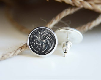 House Targaryen earrings, silver plated stud posts or leverback dangles, game of thrones jewelry