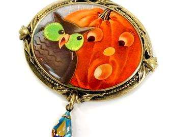 Pumpkin Pin, Owl Pin, Pumpkin Brooch, Owl Brooch, Halloween Jewelry, Halloween Brooch, Halloween Pin, Pin, Boorch, Owl Jewelry, Pumpkin P327