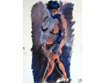 Complementary 2 (2014) Original oil painting life drawing female nude figure mature