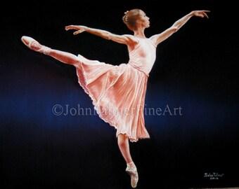Ballerina painting, ballet painting, ballet art,  Prima ballerina -  print from my original pastel painting.
