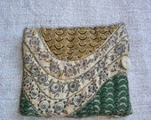 Antique French Sewing Needle Case Vintage Homemade Quilt Scrap - Incl Pins