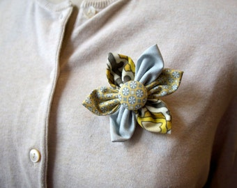 Yellow and Grey Flower Brooch, Flower Pin - Handmade Fabric Flower