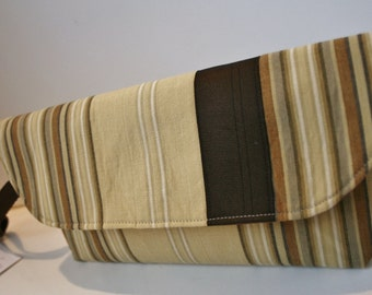 Brown and Tan Striped Fabric Wristlet Purse, iPhone Wristlet, Wristlet Clutch Bag, Handmade Fabric Wristlet, Catey Bag