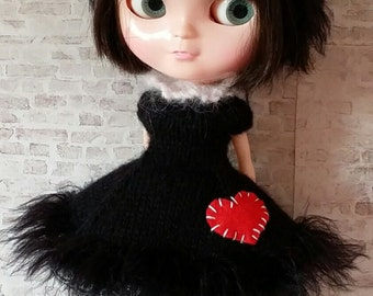 "PDF knitting pattern for Lucky Black Kitty dress and headband for 12"" Blythe"