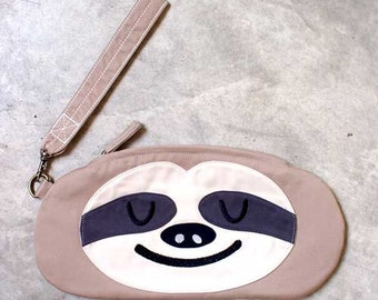 Sloth Purse, Sloth Pouch, Sloth Wristlet, Sloth Wrist Clutch, The Slothful One, BEIGE CREAM Color