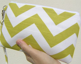WEDDING CLUTCH 2 pockets,cotton,green,discount plan,medium ,travel pouch - Big chevron green/ white