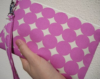 WEDDING CLUTCH 2 pockets,medium, pink,cotton, makeup gift for her wristlet - Mod dots in orchid