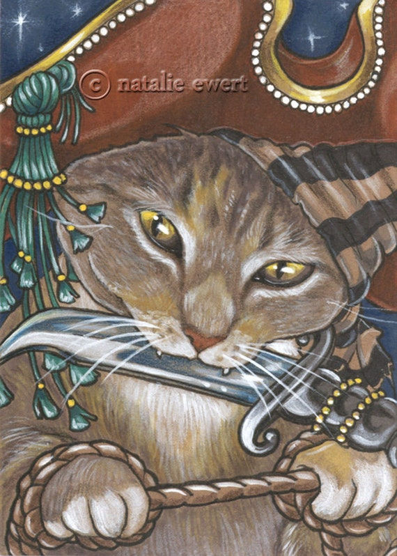 Pirate Cat 8 Signed Art Print -You Choose - 2.5x3.5, 5x7 or 8x10 in., Anthro Ren Fair Ship Spangled Breed Tan Striped Knife Hat