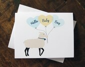 New Baby Boy Card, Shower, New Parents Card - Hello Lamb
