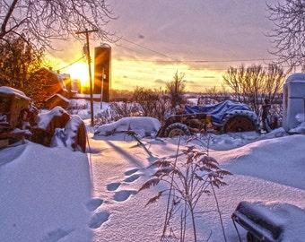 Snowy Sunset on a Farm - Print