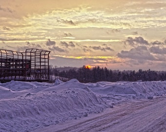 Country Farm Sunset and Snow - Print