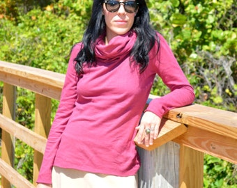 Hemp top, Long Sleeve Chunky Cowlneck top, Light organic Hemp/cotton jersey knit, Made to order-organic hemp clothing
