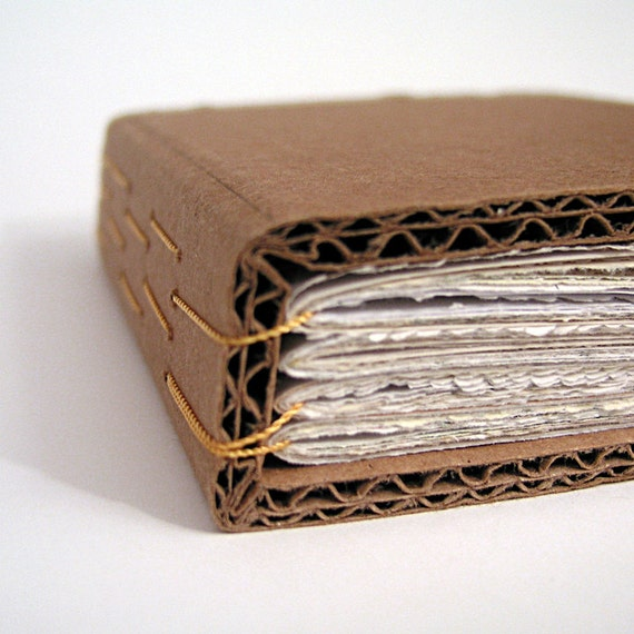 How To Make A Book Cover With Cardboard : Cardboard handbound book ephemera paper yellow binding by