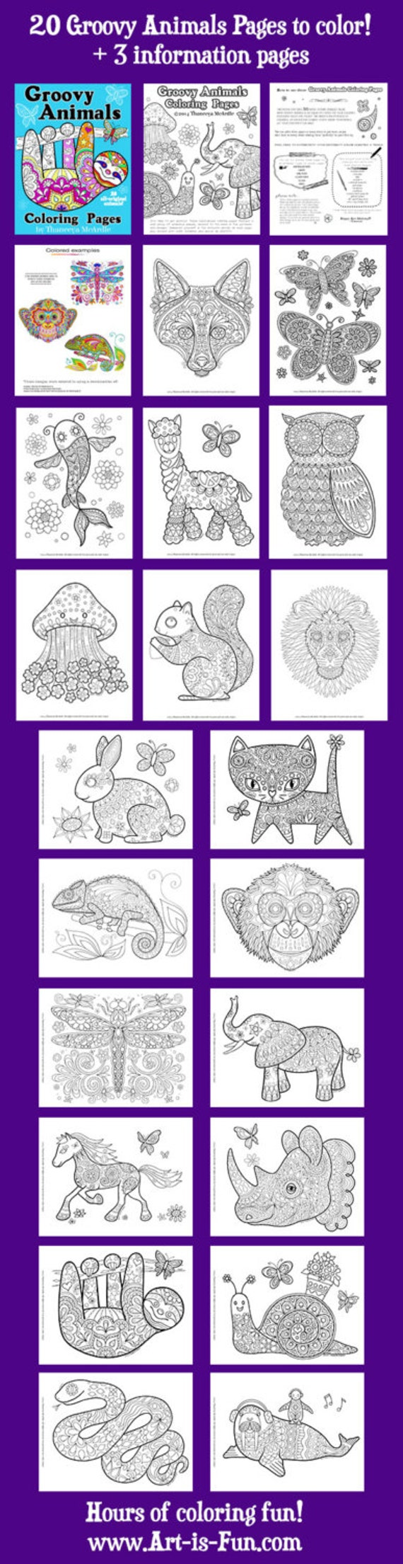 Groovy Animals Coloring Pages PDF 20 Printable Animal