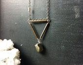 Medium Pyrite Triangular Lines Necklace