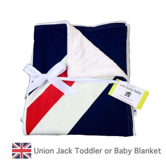 Knitting Pattern For Union Jack Blanket : UNION JACK Modern Blue and Red Minky Baby or Toddler Blanket