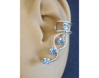 Light sapphire Rhinestone Ear Cuff in Silverfilled