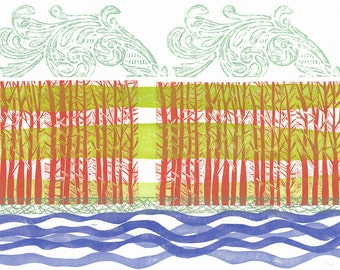 LINO PRINT - Double Red Forest - OOAK Relief Print 20x26 - Ready to Ship