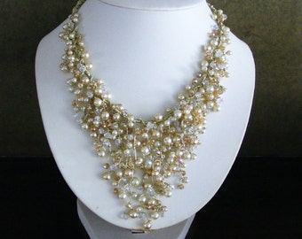 Champagne Bridal Jewelry Set - bib necklace and earrings