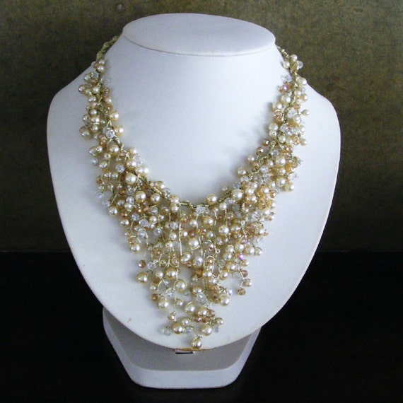Champagne bridal jewelry set bib necklace and earrings for Jewelry for champagne wedding dress