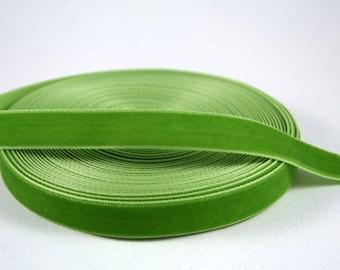 Light Olive Green 16 mm Polyester Velvet Ribbon- 1 Yard