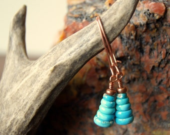 Turquoise Cairn Earrings - Stone Earrings - Turquoise Earrings - Cairn Earrings - Zen - December Birthstone - Cairn Jewelry
