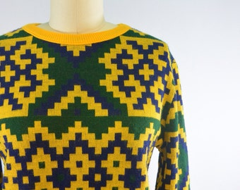Italian Multicolor Pixelated Sweater | 1960s 1970s Vintage Jumper | Size Medium