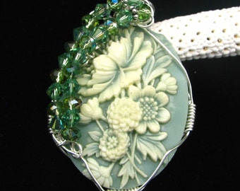 Floral Cameo Wire Wrapped in Sterling Silver Sage Green and Creme