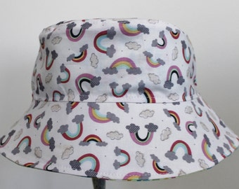 Kids Child Children Reversible Fabric Bucket Hat Rainbows