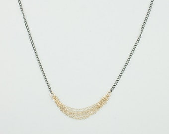 Classic Sash Necklace with Mixed Metals - Oxidized brass and gold
