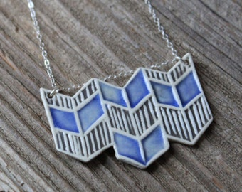 Blue and Gray Porcelain Chevron Necklace - Handmade