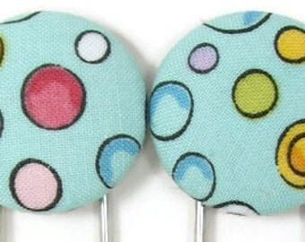 Set of 2 Jumbo Paperclips in Colorful Dots on Aqua