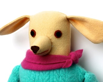 Light Yellow Girl Dog wool doll