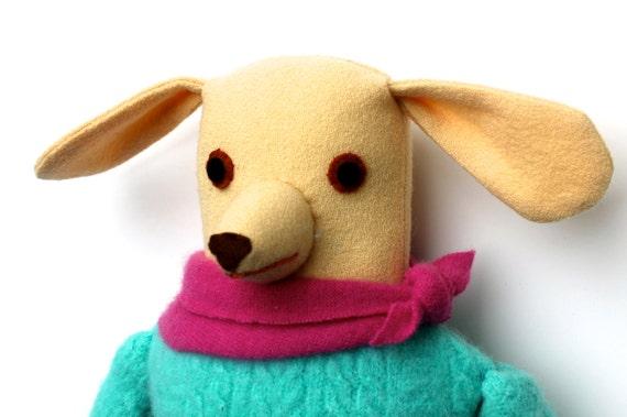 Light Yellow Girl Dog wool doll
