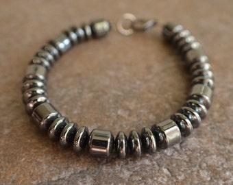 Garett - Hematite Men's Beaded Bracelet Necklace