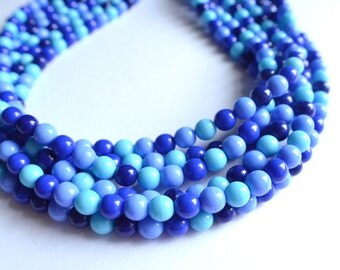 The Michelle- Multi Blues Czech Glass Statement Necklace