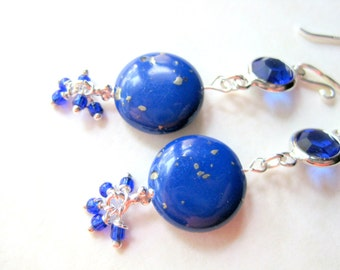 Lapis Cluster Earrings, Blue Coin Beads, Unique Lapis Lazuli Jewelry, Sterling Silver, Cobalt Blue, Gift For Someone Special, One of a Kind