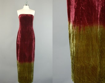 90s Ombre Velvet dress / Vtg 2 tones wine green velours Maxi strapless dress sz 6
