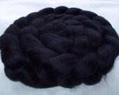 BLACK, Merino wool roving, spinning fiber, felting wool, super soft, 20 micron, wet felting wool,nuno felting wool, dreads, dolls hair,3.5oz
