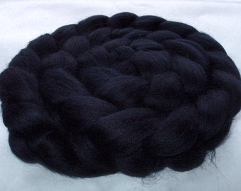 BLACK, Merino wool roving, spinning fiber, felting wool, super soft, 20 micron, wet felting wool,nuno felting wool, dreads, dolls hair,3.5oz