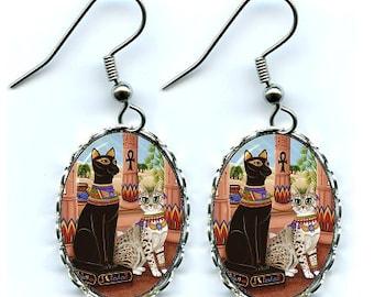 Temple Bastet Cat Earrings Goddess Egyptian Cat Bast Fantasy Cat Art Cameo Earrings 25x18mm Gift for Cat Lovers Jewelry