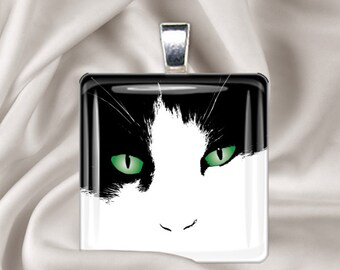 Tuxedo Cat - Square Glass Tile Pendant Necklace -  Cat Pendant
