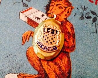 Vintage ENAMEL DEWSBURY LOCKET England Souvenir Brass Shield